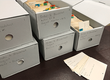 The complete Broadsheet card catalogue in six boxes, available from Special Collections